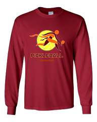 COLLEGE BURGUNDY & ORANGE PICKLEBALL LONG SLEEVE SHIRT