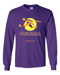 COLLEGE PURPLE & YELLOW PICKLEBALL LONG SLEEVE SHIRT