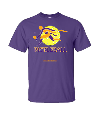 COLLEGE PURPLE & YELLOW PICKLEBALL TEE