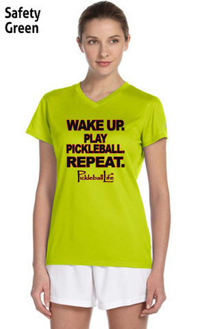 Wake Up and Play Pickleball Ladies' New Balance Ndurance Athletic V‑Neck Tee