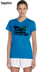 I Will Wake For Pickleball Ladies' New Balance Ndurance Athletic V‑Neck Tee