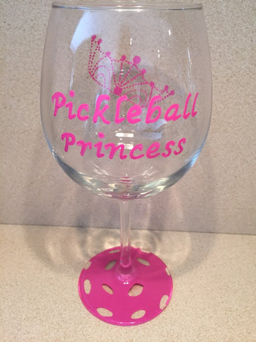 WINE GLASS PICKLEBALL PRINCESS