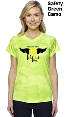 Pickleball Life Wings Ladies Champion Camo Colors Athletic Workout Tee
