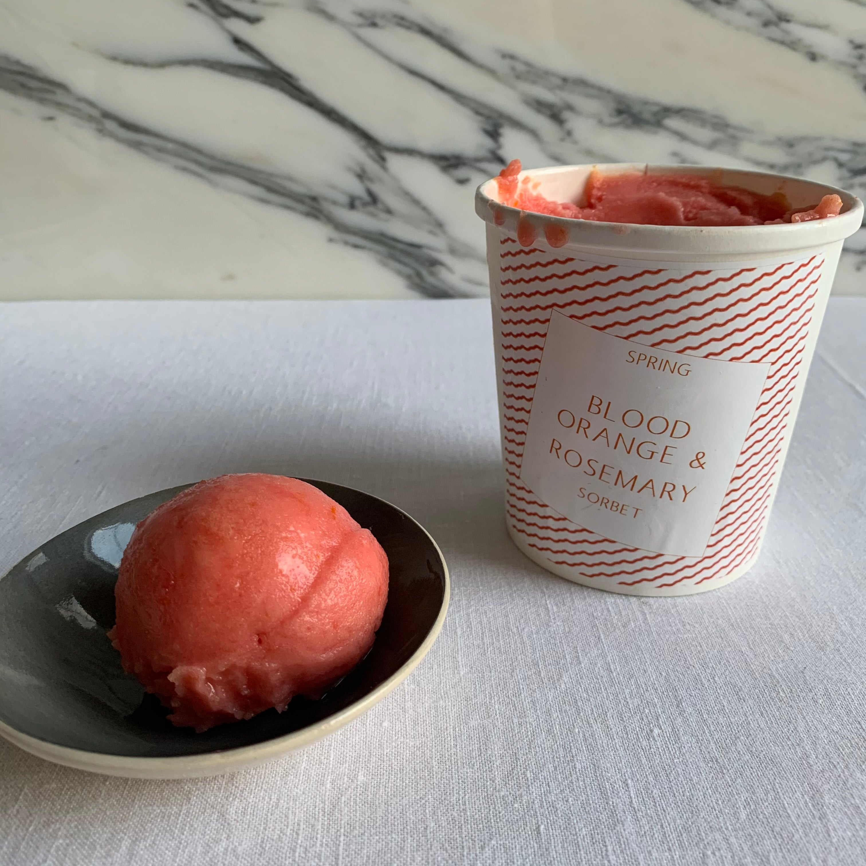 Blood Orange and Rosemary Sorbet