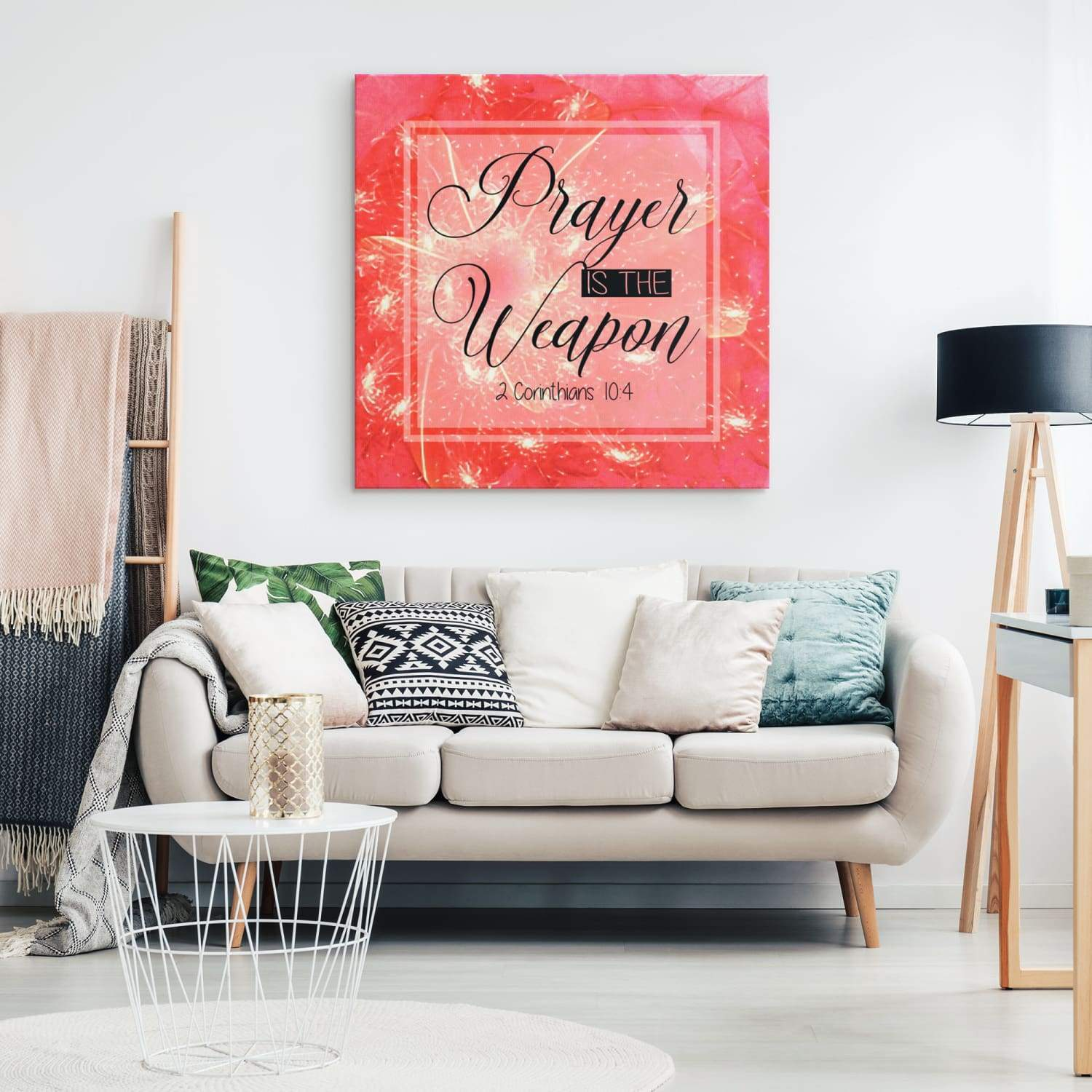 2 Corinthians 10:4 Prayer is the weapon canvas wall art - Square - GnWarriors Clothing