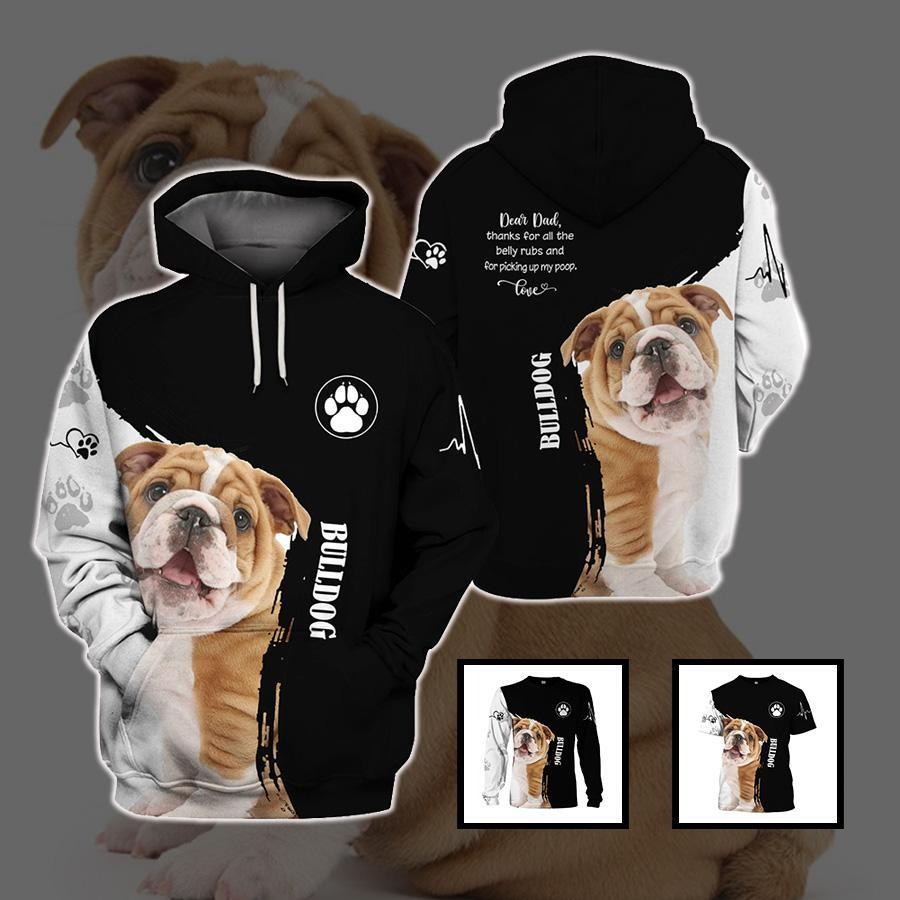 3d apparel - Best gift for dog Dad - Bulldog