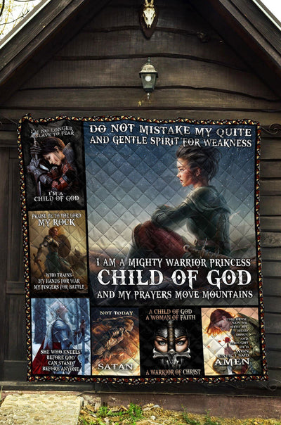 Trending Christian Quilt Collection - Mighty Warrior Princess Child Of God Quilt - GnWarriors Clothing