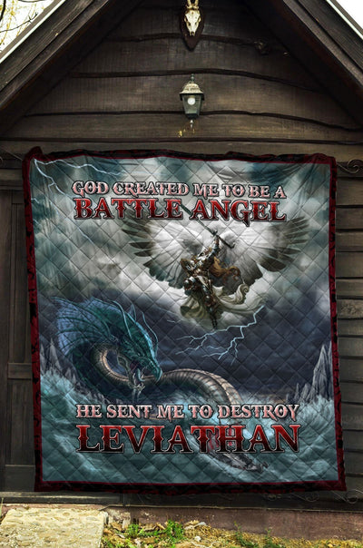 Trending Christian Quilt Collection - Battle Angel And Leviathan Quilt ql-hg38 - GnWarriors Clothing