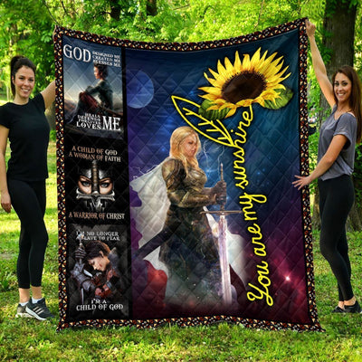 Trending Christian Quilt Collection -You Are My Sunshine Christian Warrior Quilt ql-hg79 - GnWarriors Clothing