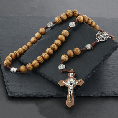 Round Saint Benedict Medal Antique Wooden Rosary Cross Necklace - GnWarriors Clothing