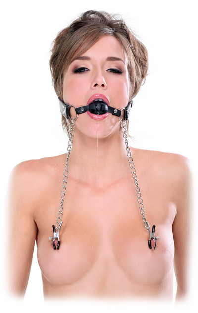 Fetish Fantasy Extreme Deluxe Ball Gag and Nipple Clamps - Black - Pikante Tienda Erotica