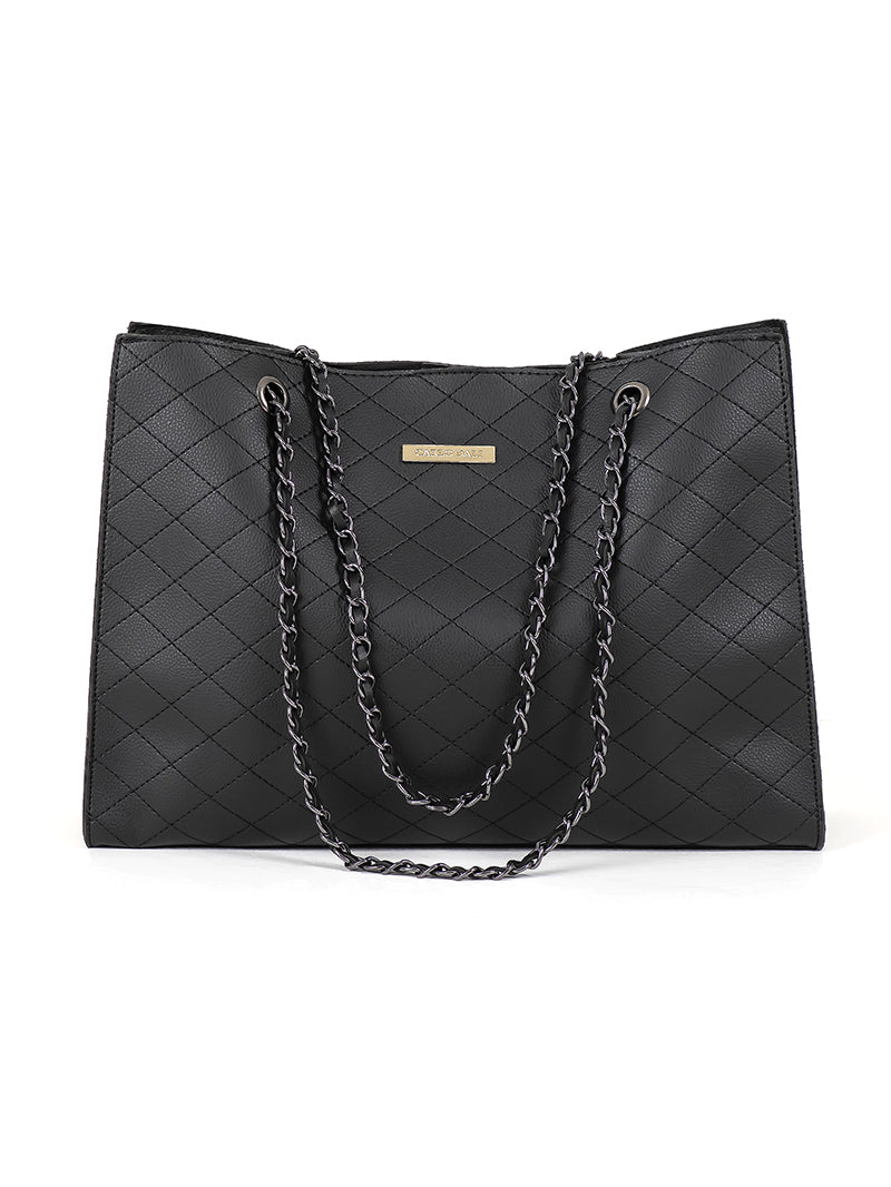 CARLO DALI Black Diamond Tote Bag with Chain