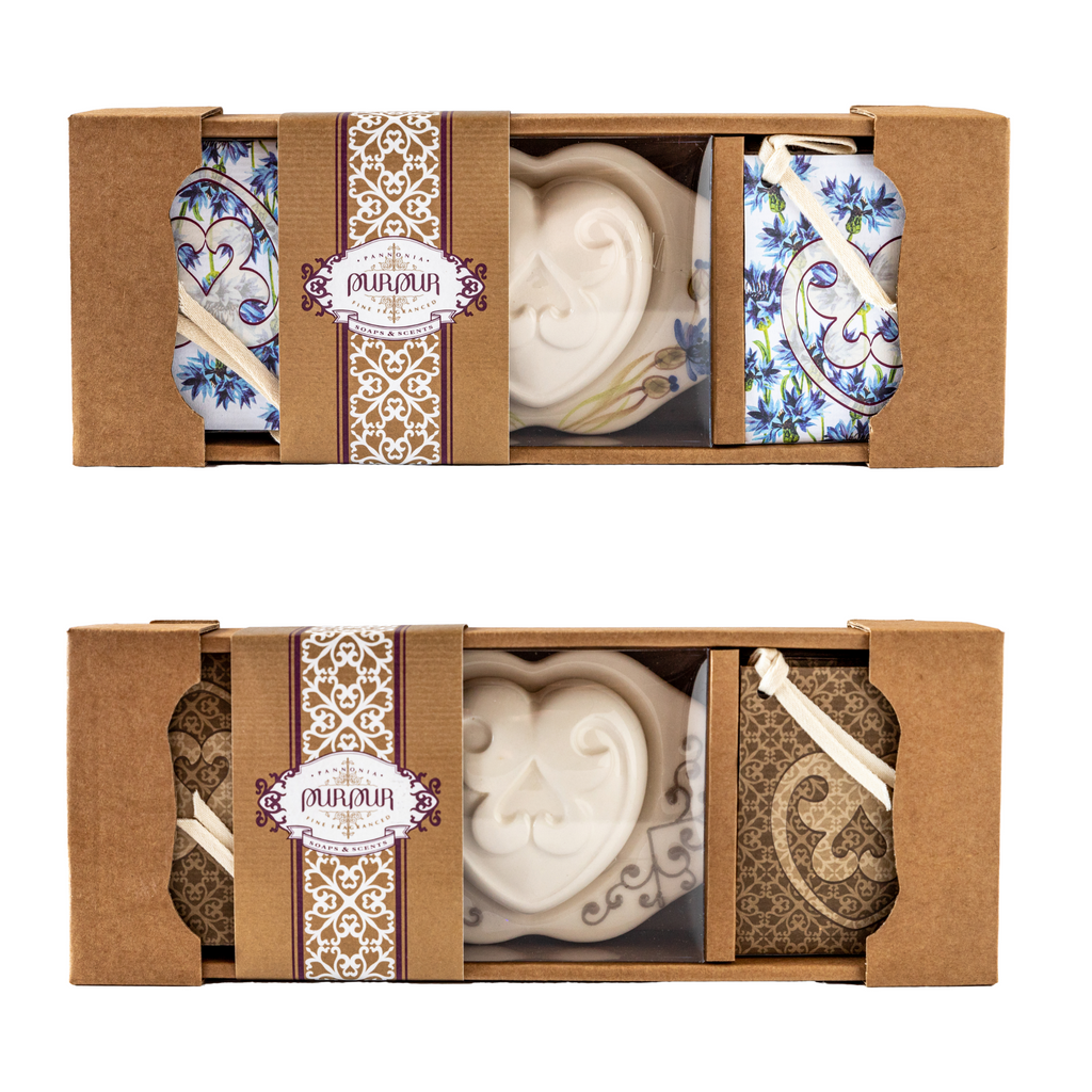 Soap Heart in Ceramic Holder + 4 refill bags
