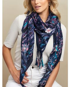 Marra Square Scarf Navy