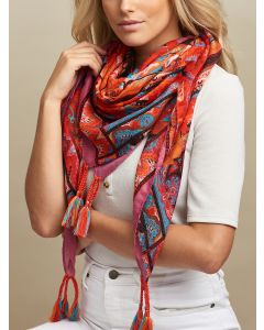Marra Square Scarf Red Pink