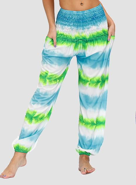 Pink Mint Green Beach Bohemia Tie Dyed Women Casual Bloomer