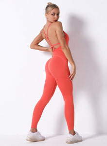 Sexy V-neck Seamless Backless Women Sports Jumpsuit