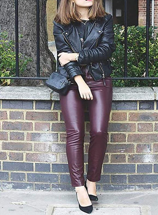 High Waisted Butt Lifting Stretch Faux Leather Pants-JustFittoo