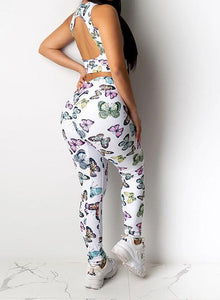 Women Butterfly Design Backless Top and Legging Sets