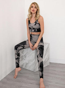 Women Seamless Tie Dyed Design Sport Bra and Legging Set-JustFittoo