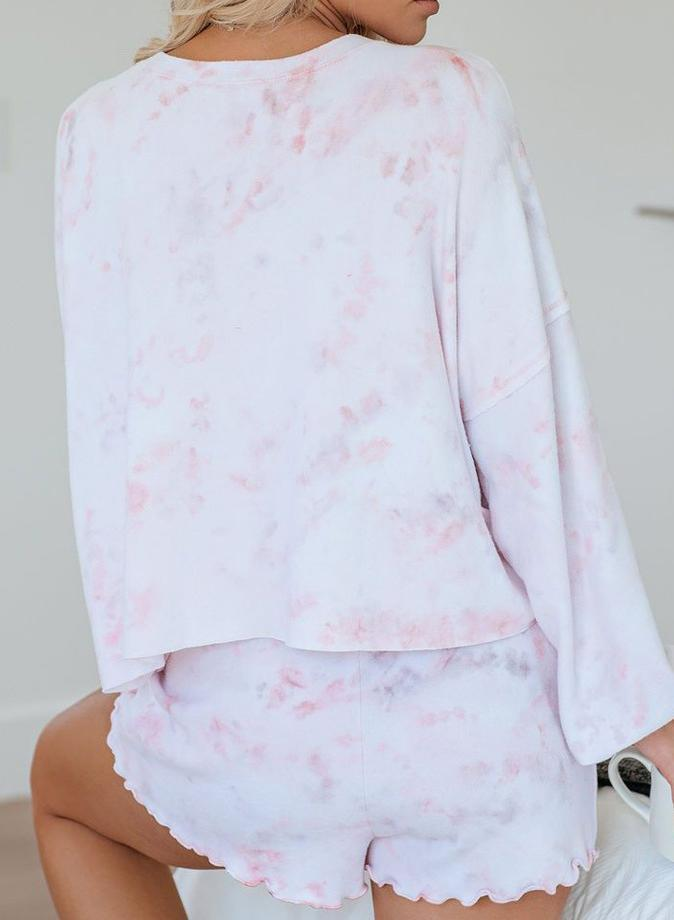Leopard Gray Pink Plus Size 3XL Tie-dyed Long Sleeve and Short Sets