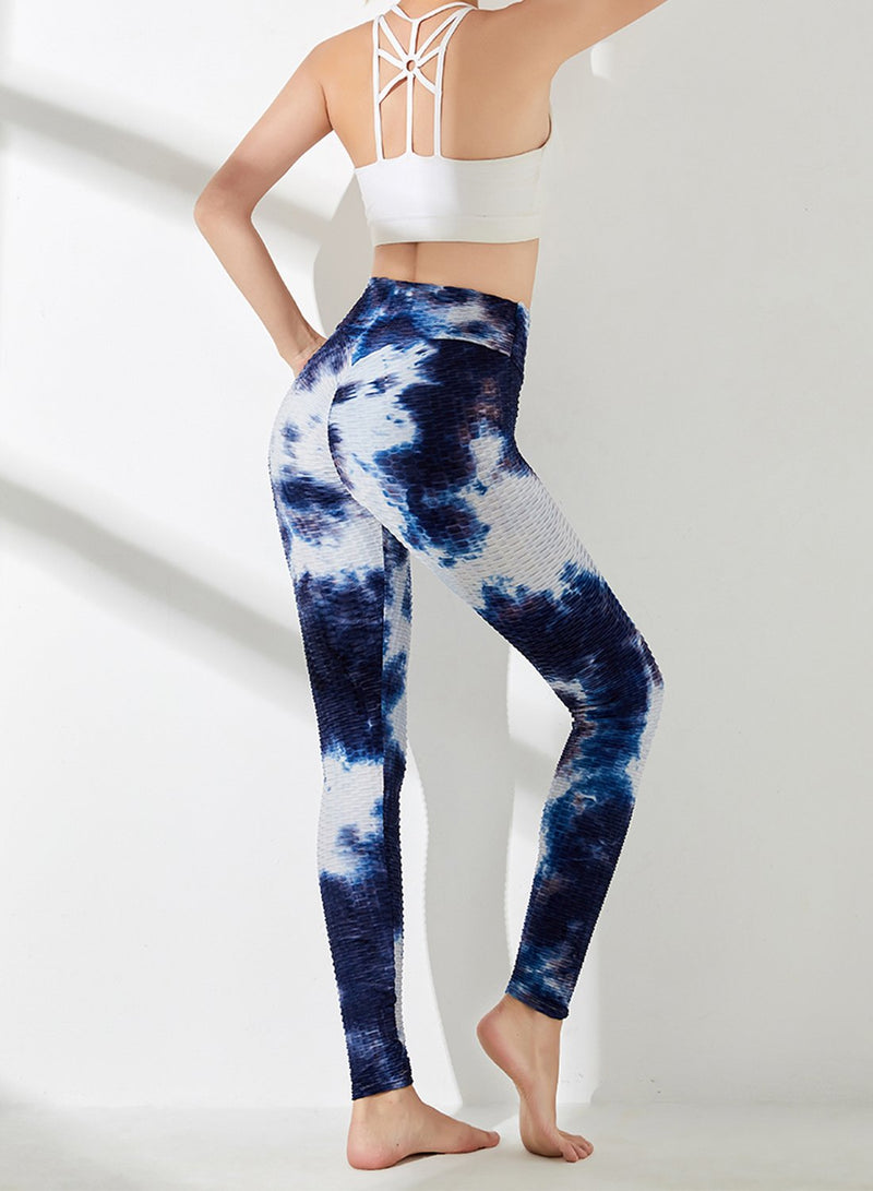 SEASUM Tie-dyed Textured Yoga Pants for Women