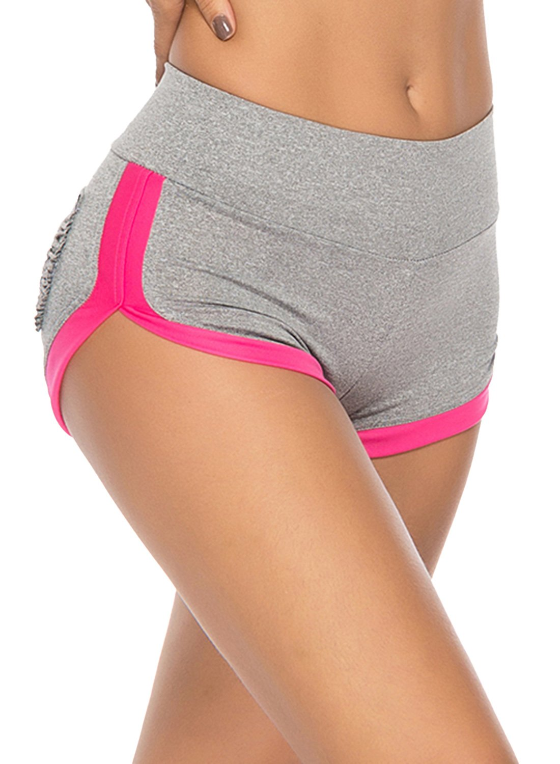 Women's Ruched Pocket Contrast Color Yoga Shorts
