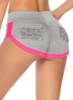 Load image into Gallery viewer, Women's Ruched Pocket Contrast Color Yoga Shorts