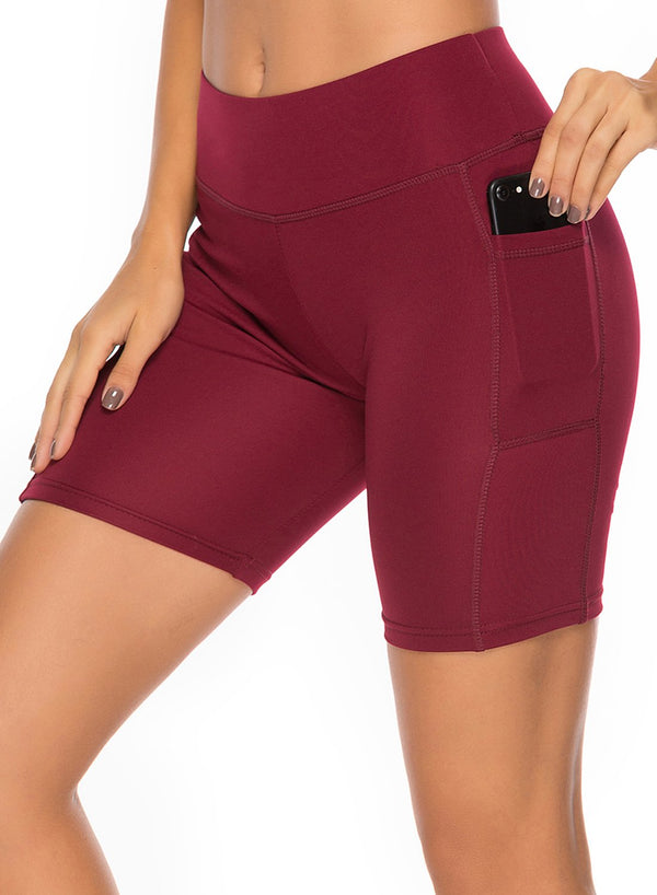 Women's Solid Color Pockets Training Yoga Shorts
