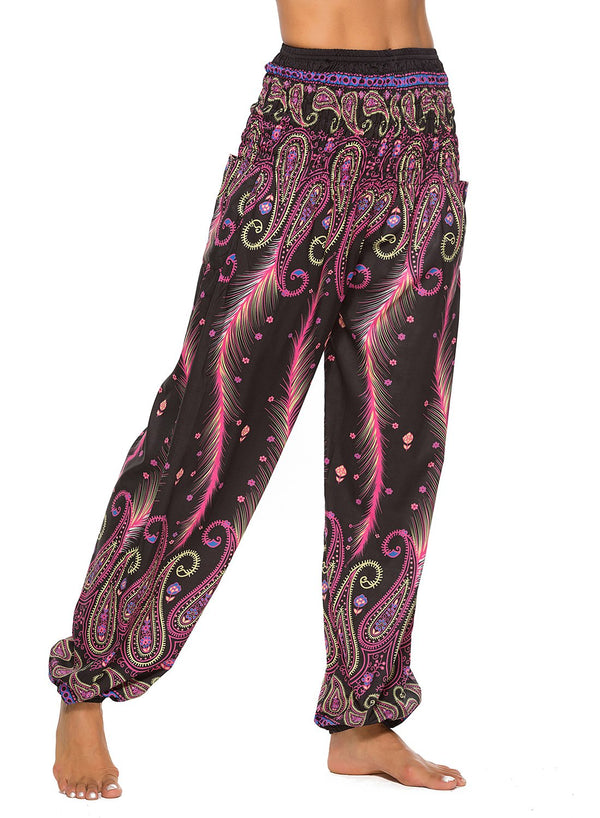 Women's Loose Hippie Digital Print  Yoga Pants Bloomers