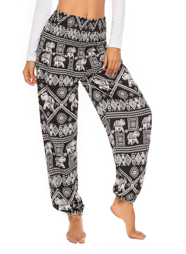 Wide-leg Bohemia Print Bloomers Yoga Pants