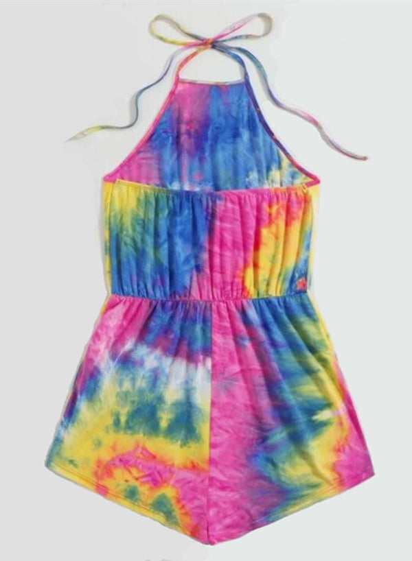 Comfy Elasticated Waist Tie-dyed Jumpsuit
