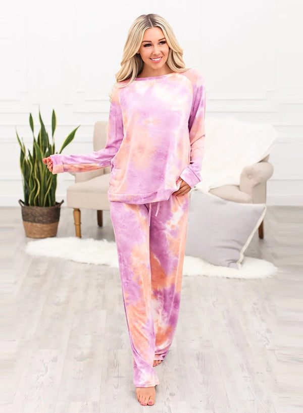 Women Two PCS Tie Dyed  Home Casual Suit