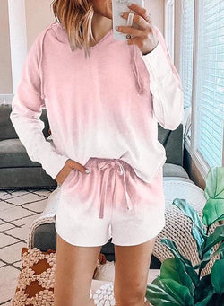 Gradient Color Long Sleeve and Short Suit