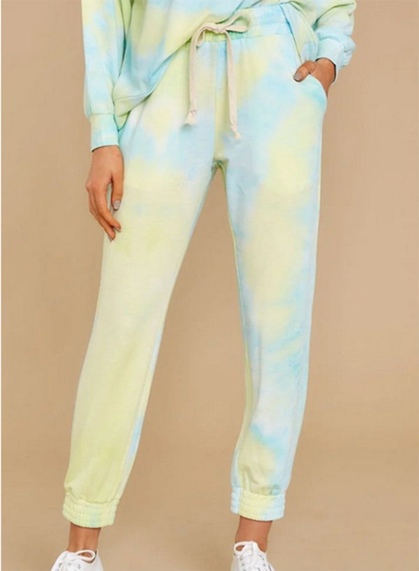 Tie-dyed Elasticated Drawstring Waist Loose Pants