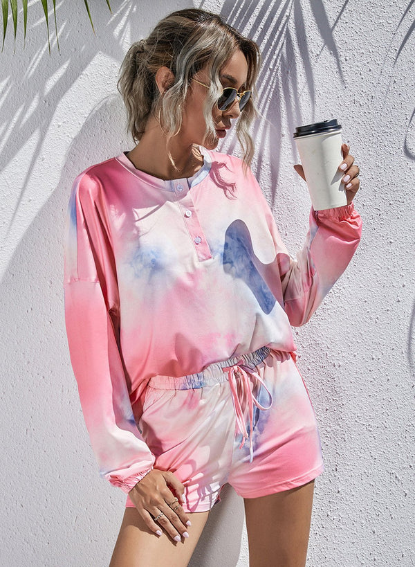 Tie Dyed Long Sleeve and Short Pants Casual Set