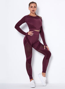 Seamless Women Solid Hollow Out Sport Shirt and Legging-JustFittoo