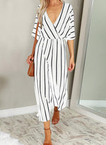 Load image into Gallery viewer, Black White Stripe Women Wide Leg V-neck Jumpsuit