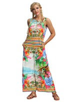 Load image into Gallery viewer, Colorful Floral Print Bohemia Wide Legs Jumpsuits