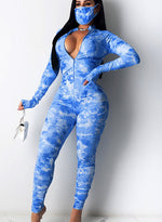 Load image into Gallery viewer, Ruched Tie Dyed Long Sleeve V Neck Women Tight Jumpsuit