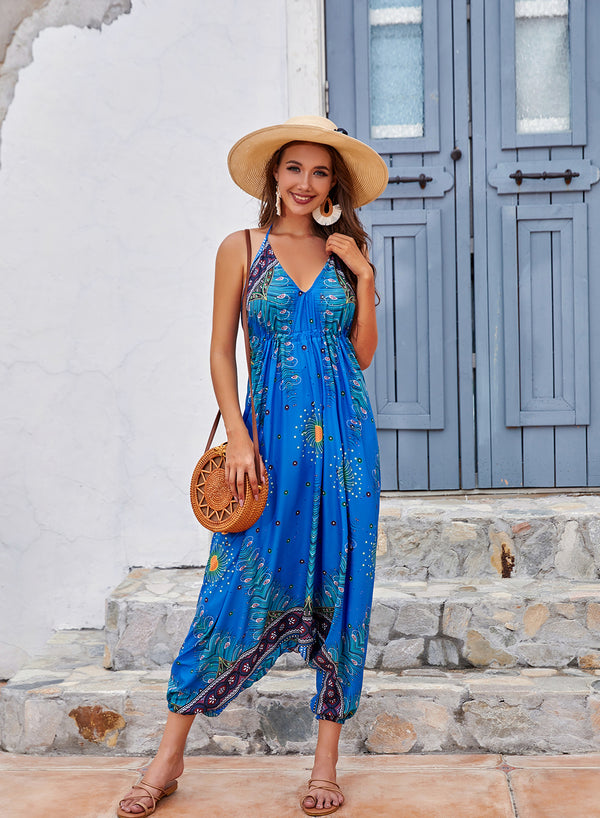 V Neck Comfortable Loose Bohemia Beach Jumpsuits