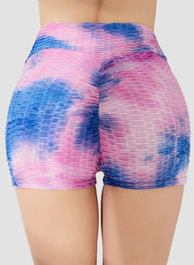 Tie-dyed Textured Ruched Shorts