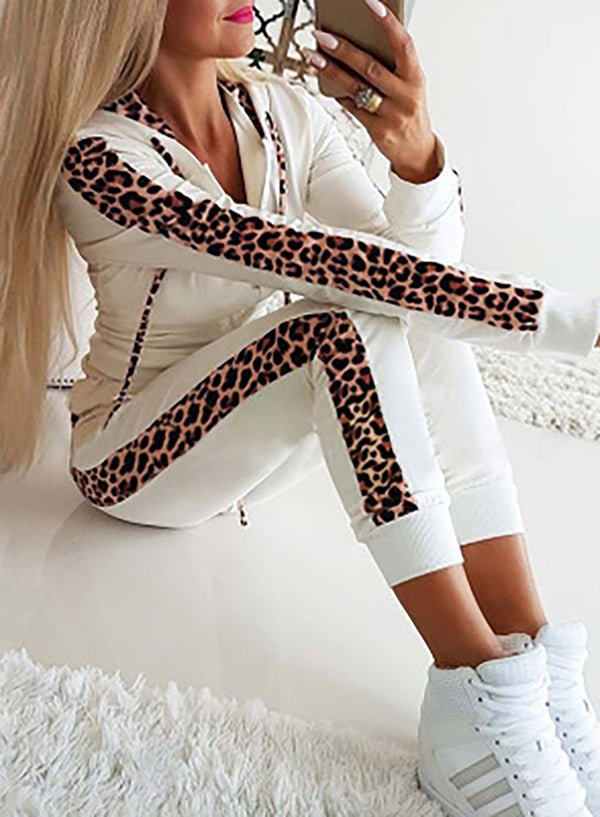 Women Long Sleeve Leopard Sport Two Pieces Set