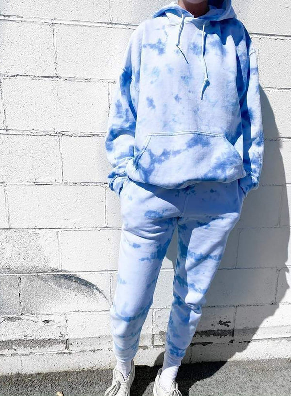 Sky Blue Comfy Women Tie Dyed Hoodie Sets