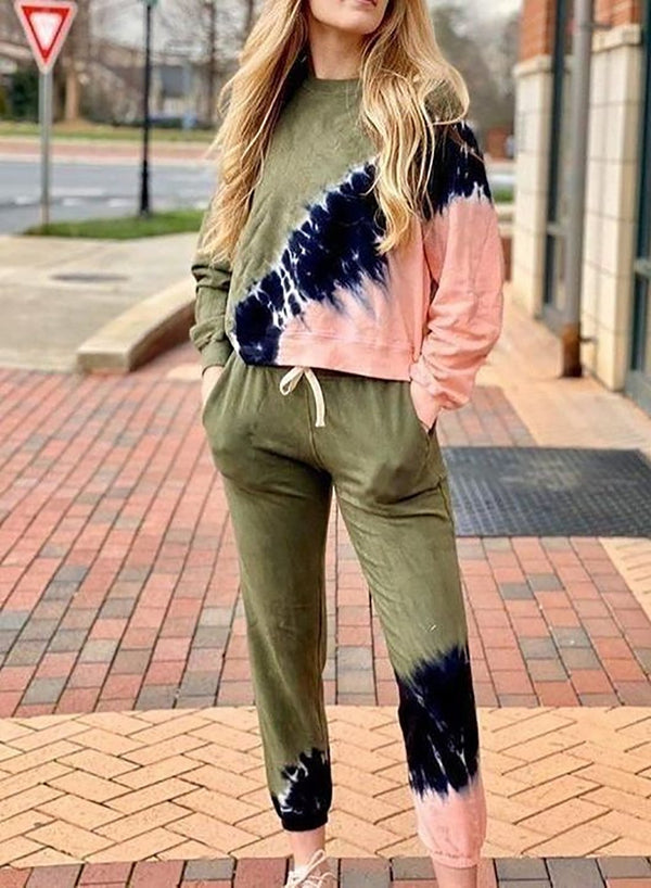 Women Army Green Long Fall Hoodie Set