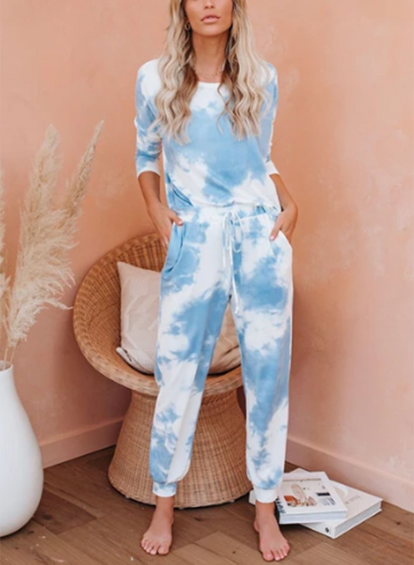 Tie-dyed Elasticated Drawstring Waist Casual Pants