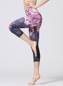 Women Elegant Print Sports Cropped Leggings