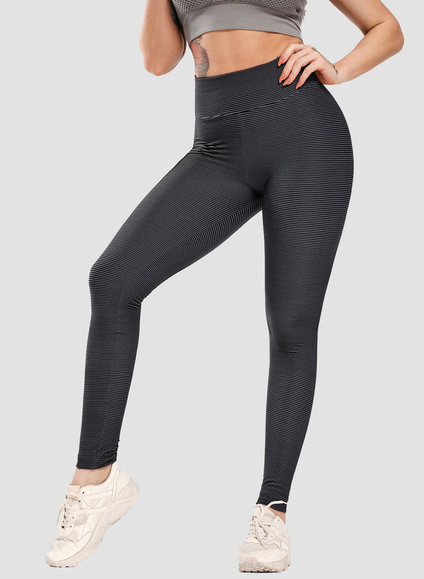 Multiple Color Stripe Textured Scrunch Women Leggings-JustFittoo