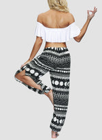 Load image into Gallery viewer, Thigh-high Slit Drawstring-waist Bohemia Casual Pants