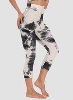 Load image into Gallery viewer, Super Stretchy Textured Tie-dyed Ruched Capris Leggings